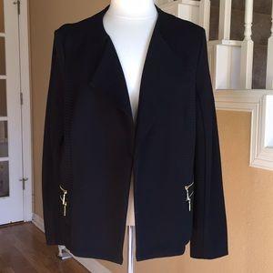 Chico's Black Blazer Jacket Sz 2 Jersey Knit